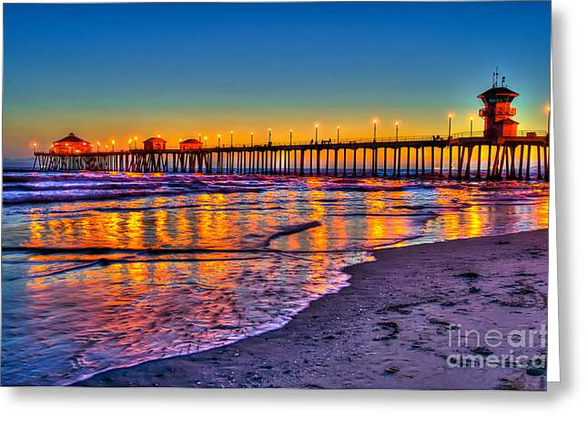 Best Sellers -  - Surf City Greeting Cards - Huntington Beach Pier Sundown Greeting Card by Jim Carrell
