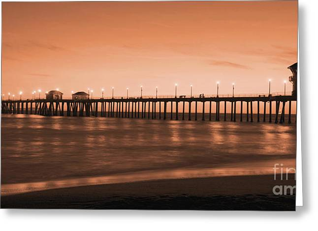 Best Sellers -  - Surf City Greeting Cards - Huntington Beach Pier - Twilight Sepia Greeting Card by Jim Carrell