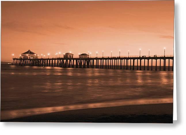 City Pier Greeting Cards - Huntington Beach Pier - Twilight Sepia Greeting Card by Jim Carrell