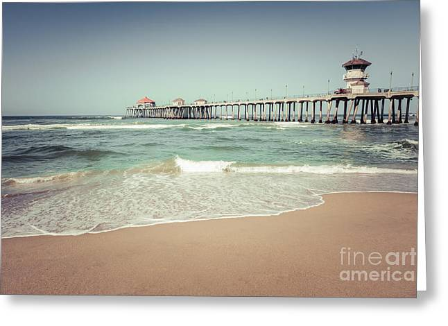 Historic City Pier Greeting Cards - Huntington Beach Pier Vintage Toned Photo Greeting Card by Paul Velgos