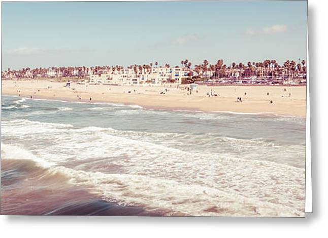 Pacific Ocean Prints Greeting Cards - Huntington Beach Retro Panorama Photo Greeting Card by Paul Velgos