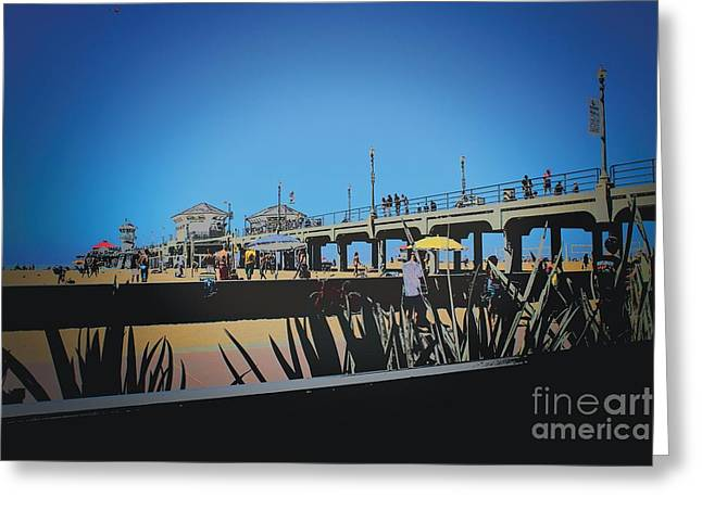 Pch Digital Art Greeting Cards - Huntington Beach Greeting Card by RJ Aguilar