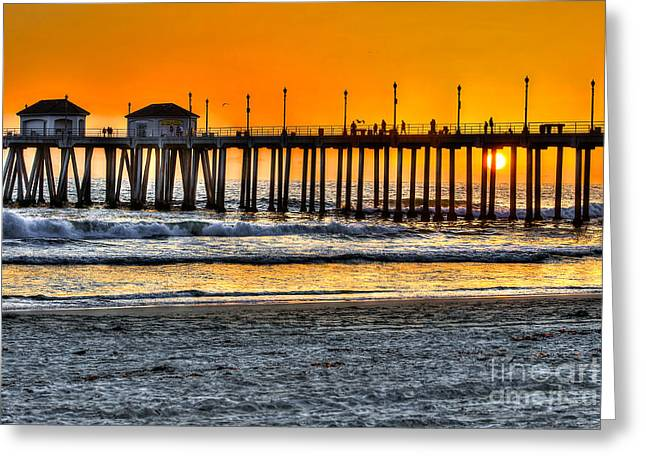 Best Sellers -  - Surf City Greeting Cards - Huntington Beach Sunset Greeting Card by Jim Carrell