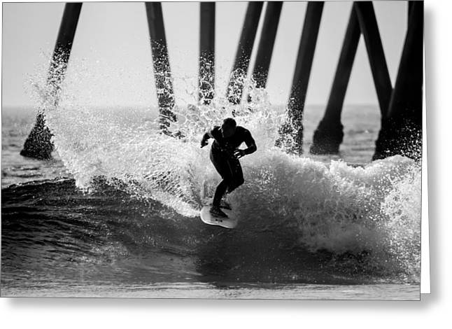 Surf Lifestyle Greeting Cards - Huntington beach Surfer 2 Greeting Card by Pierre Leclerc Photography