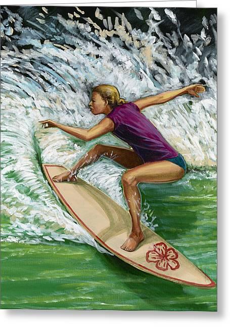 Surfer Girl Greeting Cards - Huntington Beach Surfer Girl Greeting Card by MJ Greene