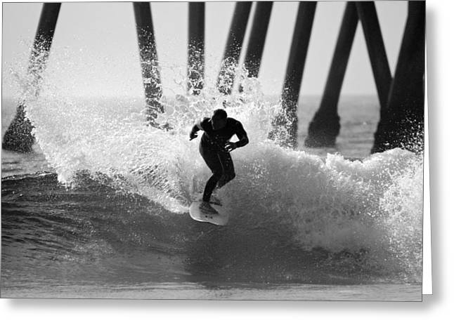 Slash Greeting Cards - Huntington beach Surfer Greeting Card by Pierre Leclerc Photography