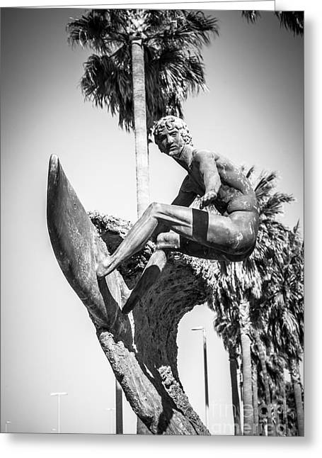 Huntington Beach Greeting Cards - Huntington Beach Surfer Statue Black and White Picture Greeting Card by Paul Velgos