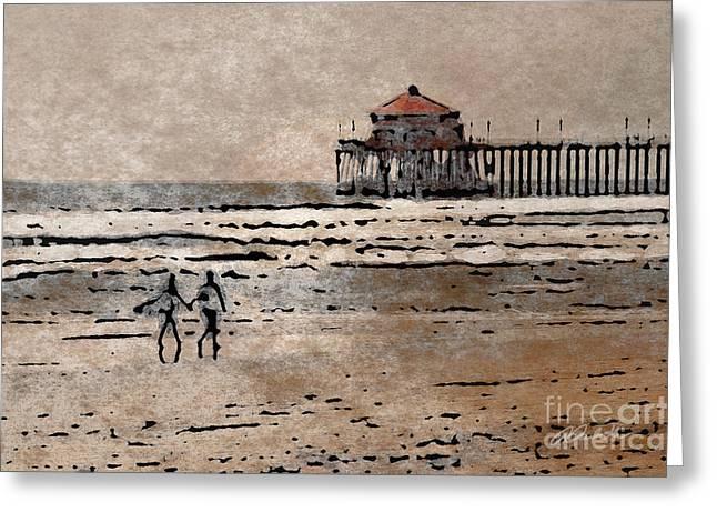 Huntington Hotel Greeting Cards - Huntington Beach Surfers Greeting Card by Andrea Auletta