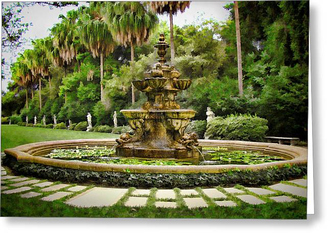 Lilly Pad Greeting Cards - Huntington Fountain Greeting Card by Peter Hogg