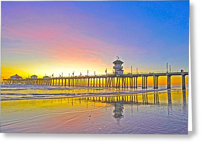 Unset Greeting Cards - Huntington Pier Sunset Greeting Card by Richard Brooks