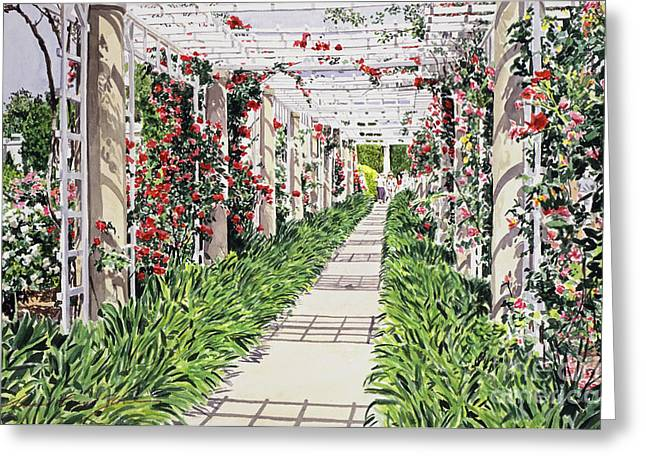 Marino Greeting Cards - Huntington Rose Arbor Greeting Card by David Lloyd Glover