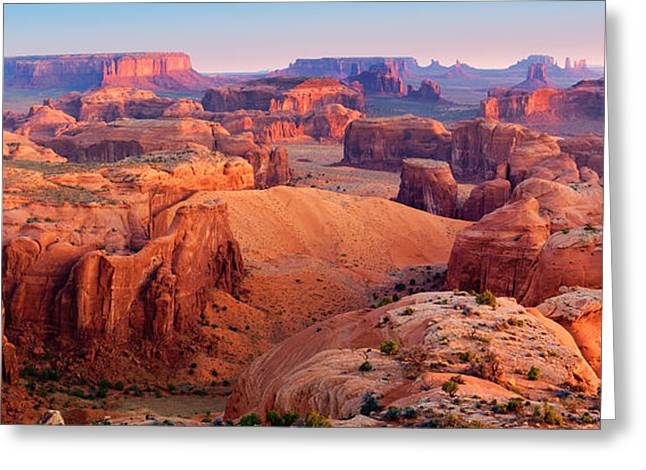 Eroded Greeting Cards - Hunts Mesa Panorama Greeting Card by Inge Johnsson