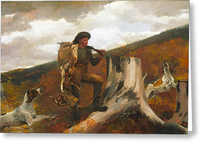 Boots Digital Greeting Cards - Huntsman and Dog Greeting Card by Winslow Homer