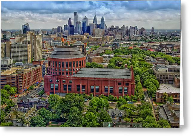 Huntsman Photographs Greeting Cards - Huntsman Hall with Philadelphia Skyline in Background Greeting Card by Mountain Dreams