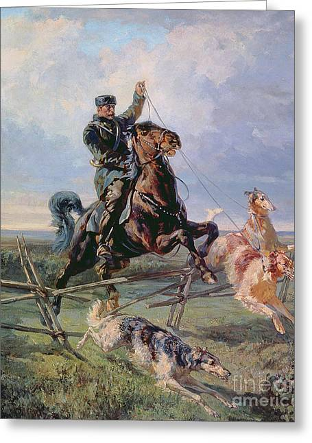 Hunting Greeting Cards - Huntsman with the Borzois Greeting Card by Rudolph Frenz