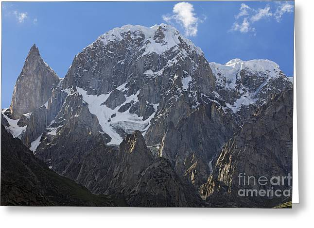 Ladyfinger Greeting Cards - Hunza Peak and Ladys Finger Peak in the Karakorum Pakistan Greeting Card by Robert Preston
