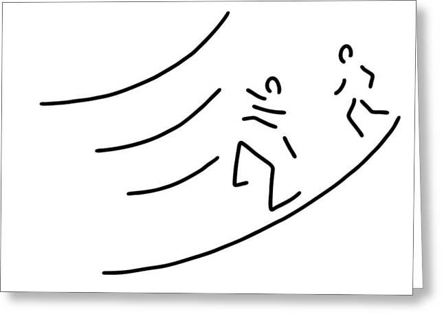 Jogging Drawings Greeting Cards - Hurdle-race Athletics Metres Run Greeting Card by Lineamentum