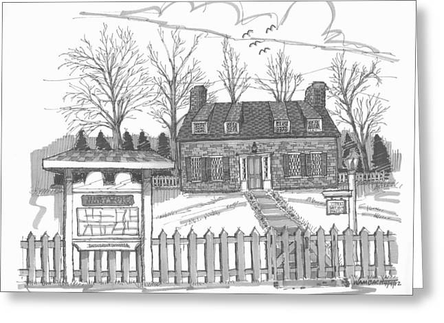 Stone House Drawings Greeting Cards - Hurley Historical Society Greeting Card by Richard Wambach