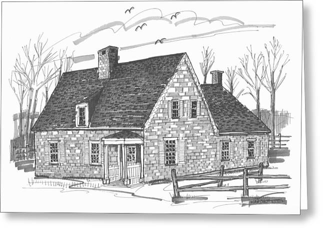 Stone House Drawings Greeting Cards - Hurley Stone House Greeting Card by Richard Wambach
