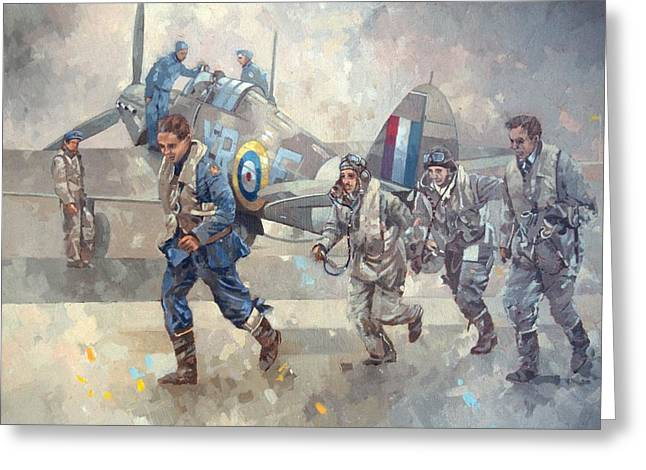 Airfield Greeting Cards - Hurrican Scamble Oil On Canvas Greeting Card by Peter Miller
