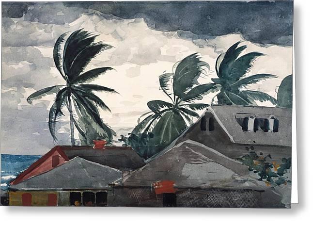 Beach House Greeting Cards - Hurricane Bahamas Greeting Card by Winslow Homer