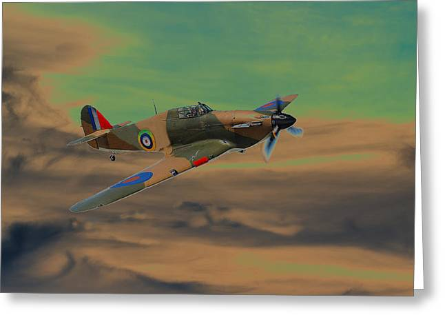 Spitfire Mixed Media Greeting Cards - Hurricane Fighter Plane 2 Greeting Card by Roy Pedersen