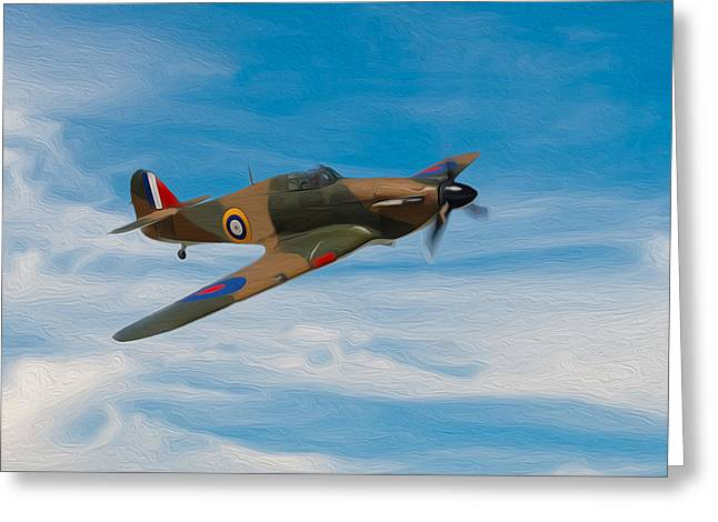 Spitfire Mixed Media Greeting Cards - Hurricane Fighter Plane 3 Greeting Card by Roy Pedersen