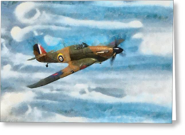 Spitfire Mixed Media Greeting Cards - Hurricane Fighter Watercolour Greeting Card by Roy Pedersen