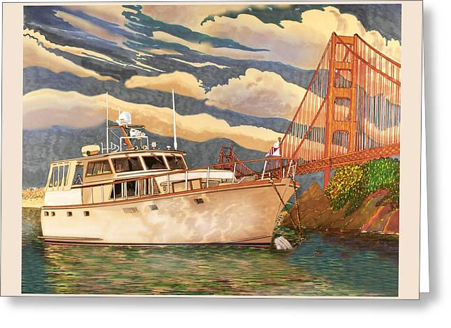 Sausalito Paintings Greeting Cards - Sausalitos Hurricane Gulch Anchorage Greeting Card by Jack Pumphrey