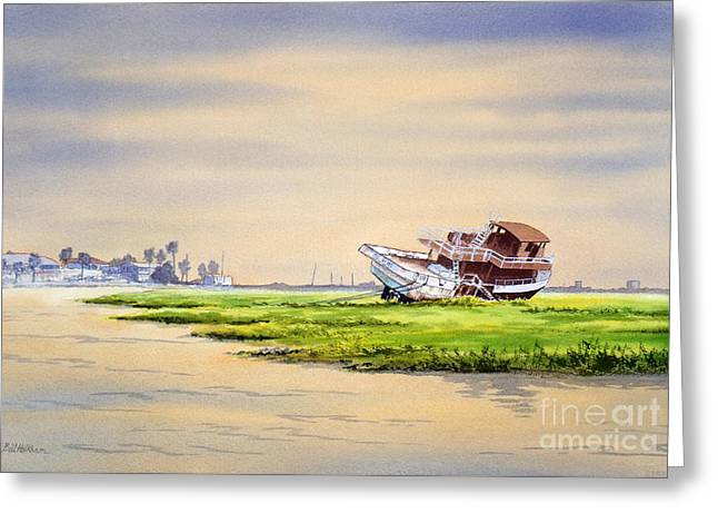 Galveston Paintings Greeting Cards - Hurricane Ike Boat Wreck Freeport Texas Greeting Card by Bill Holkham