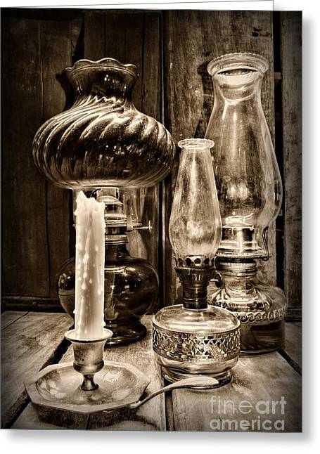 Hurricane Lamp Greeting Cards - Hurricane Lamb Collection in black and white Greeting Card by Paul Ward