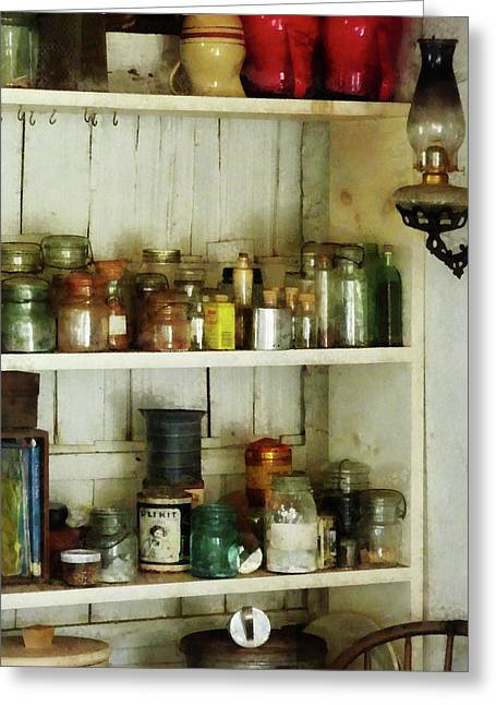 Cuisine Greeting Cards - Hurricane Lamp in Pantry Greeting Card by Susan Savad