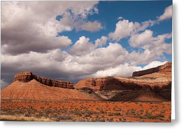 Geobob Greeting Cards - Hurricane Mesa and Dramatic Clouds Virgin Utah Greeting Card by Robert Ford