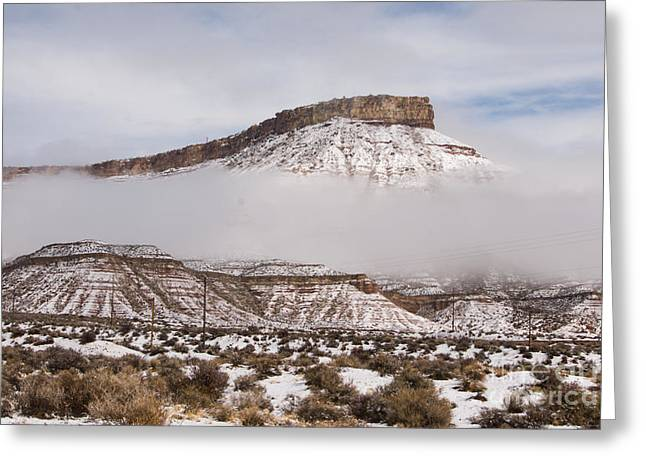 Geobob Greeting Cards - Hurricane Mesa Rising above the Clouds in Winter near Virgin Utah Greeting Card by Robert Ford