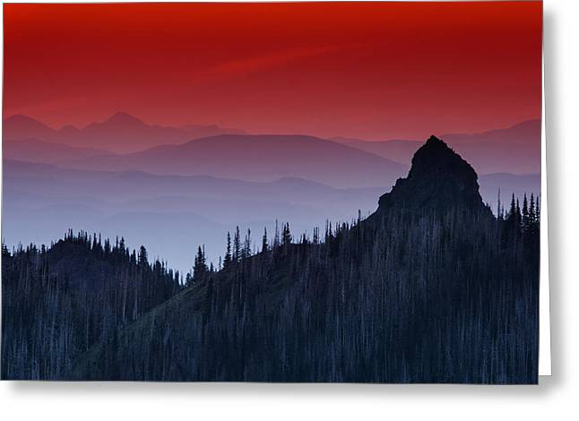 Layer Greeting Cards - Hurricane Ridge Sunset Vista Greeting Card by Mark Kiver