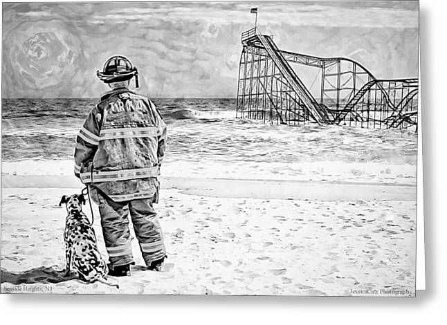 Hurricane Sandy black and white Greeting Card by Jessica Cirz