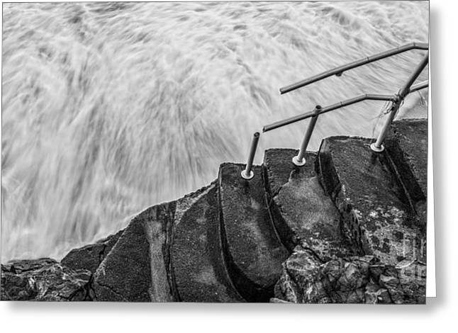 Hurricane Sandy Photographs Greeting Cards - Hurricane Sandy Damaged Steps Greeting Card by Michael Ver Sprill