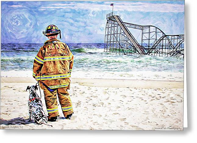 Jetstar Photographs Greeting Cards - Hurricane Sandy Fireman Greeting Card by Jessica Cirz