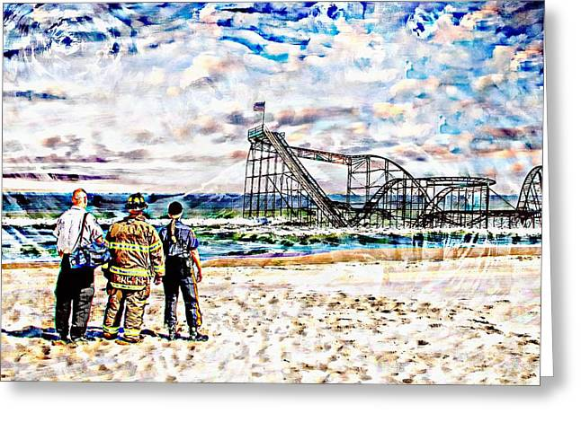 Jetstar Digital Art Greeting Cards - Hurricane Sandy First Responders Greeting Card by Jessica Cirz