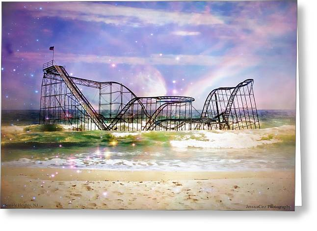Jetstar Digital Art Greeting Cards - Hurricane Sandy Jetstar Roller Coaster Fantasy Greeting Card by Jessica Cirz