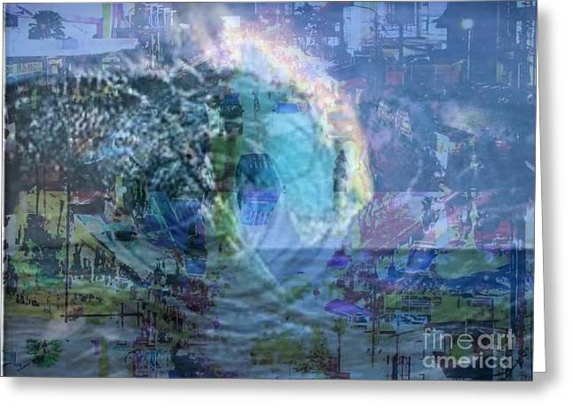 Floods Mixed Media Greeting Cards - Hurricane Sandy Greeting Card by PainterArtist FIN