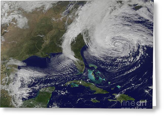 Superstorm Sandy Greeting Cards - Hurricane Sandy Greeting Card by Stocktrek Images