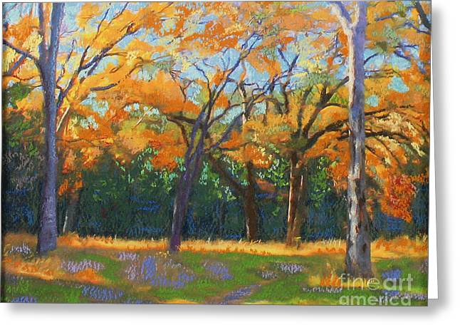 Hiking Pastels Greeting Cards - Hurst Hollows Halloween Greeting Card by Patricia  Collins-Perkey