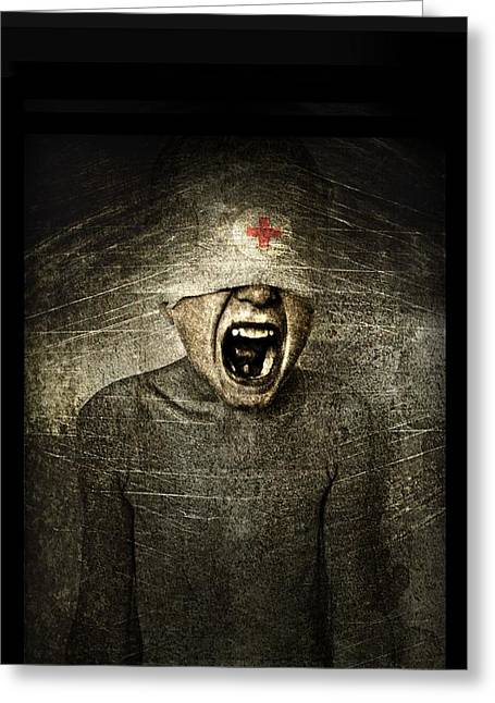 Bizarre Digital Art Greeting Cards - Hurt Greeting Card by Johan Lilja