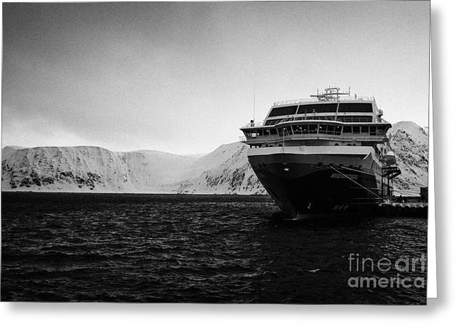 Honningsvag Greeting Cards - hurtigruten ms midnatsol berthed in Honningsvag harbour finnmark norway Greeting Card by Joe Fox