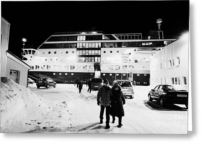 Short Boarding Greeting Cards - Hurtigruten Mv Midnatsol Ship Calling At Night In Vardo Finnmark Norway Europe Greeting Card by Joe Fox