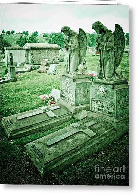 Allegheny Greeting Cards - Husband and Wife Angel Gravestones Greeting Card by Amy Cicconi