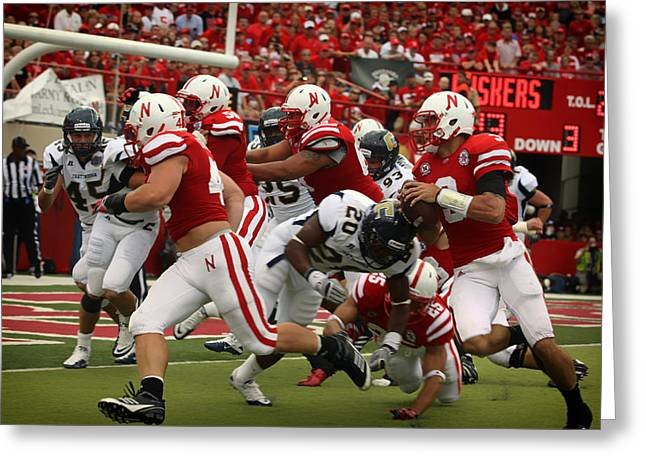 Goal Line Greeting Cards - Huskers at the Goal Greeting Card by Mountain Dreams