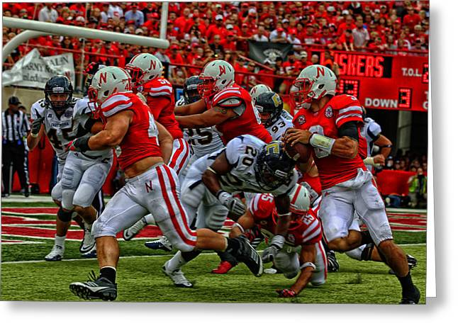 Goal Line Greeting Cards - Huskers Football Greeting Card by Mountain Dreams