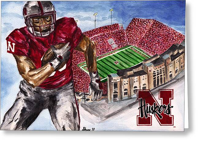 College Football Drawings Greeting Cards - Huskers Greeting Card by Sheena Pape
